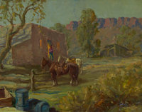 WILLIAM S. DARLING (Hungarian, 1882-1963) Trading Post, 1948 Oil on canvas laid on board 22 x 28
