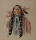 Western:20th Century, GEORGE HALLMARK (American, b. 1949). Portrait of an Indian, 1980. Pastel and ink on paper. 22 x 19 inches (55.9 x 48.3 c...