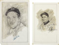 "Baseball Collectibles:Others, Bob Feller and Early Wynn Signed Original Artwork Lot of 2 from""Raitt Collection""...."