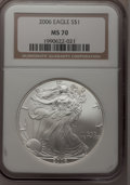 Modern Bullion Coins, 2006 $1 Silver Eagle MS70 NGC. NGC Census: (0). PCGS Population(4). Numismedia Wsl. Price for problem free NGC/PCGS coin ...