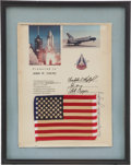Transportation:Space Exploration, Space Shuttle Columbia (STS-1) Flown American Flag Presented to and Directly from the Personal Collection of Missi...