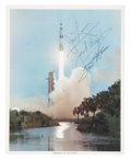 Autographs:Celebrities, Apollo 13 Crew-Signed Color Launch Photo....