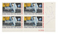 "Autographs:Celebrities, Neil Armstrong Signed ""First Man on the Moon"" Stamp Plate Block...."