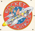 Pin-up and Glamour Art, AMERICAN ARTIST (20th Century). Rocket Hollywood. Mixedmedia on board with acetate overlay. 14 x 16.5 in.. Not signed. ...