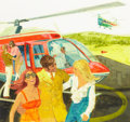 Mainstream Illustration, AMERICAN ARTIST (20th Century). Helicopter Arrival, PlayboyIllustration. Gouache on board. 10 x 10.5 in.. Not signed. ...