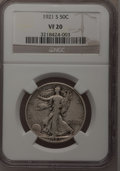 Walking Liberty Half Dollars: , 1921-S 50C VF20 NGC. NGC Census: (48/250). PCGS Population(73/320). Mintage: 548,000. Numismedia Wsl. Price for problem fr...