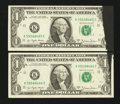 Error Notes:Ink Smears, Fr. 1910-K $1 1977A Federal Reserve Notes. Consecutive Pair.Extremely Fine-About Uncirculated.. ... (Total: 2 notes)