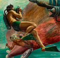 Paintings, MORT KÜNSTLER (American, b. 1931). The Frogman Had Fangs, Men's Pictorial cover, December 1956. Gouache on board. 17.5 x... (Total: 2 Items)