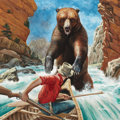 Pulp, Pulp-like, Digests, and Paperback Art, MORT KÜNSTLER (American, b. 1931). Grizzly Trap, Men's Pictorialcover, June 1956. Gouache on board. 17 x 17 in.. Signed...(Total: 2 Items)