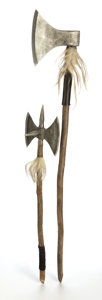 Mainstream Illustration, AMERICAN ARTIST (20th Century). Axes with alloyed headsdecorated with fur and leather, Erik the Viking movie prop,1989... (Total: 2 Items)