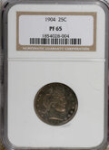 Proof Barber Quarters: , 1904 25C PR65 NGC. NGC Census: (59/63). PCGS Population (27/36). Mintage: 670. Numismedia Wsl. Price for NGC/PCGS coin in P...