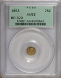 California Fractional Gold: , 1863 25C Liberty Round 25 Cents, BG-820, R.5, AU53 PCGS. PCGSPopulation (2/26). NGC Census: (0/2). (#10681)...