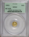 California Fractional Gold: , 1853 50C Liberty Round 50 Cents, BG-409, R.3, MS62 PCGS. PCGSPopulation (34/26). NGC Census: (7/5). (#10445)...