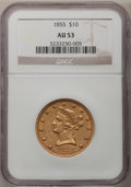 Liberty Eagles: , 1855 $10 AU53 NGC. NGC Census: (51/302). PCGS Population (19/62).Mintage: 121,701. Numismedia Wsl. Price for problem free ...