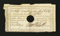 Colonial Notes:Connecticut, Connecticut Interest Certificate 5 Shillings August 3, 1789Anderson CT-50 Fine, HOC with repairs....