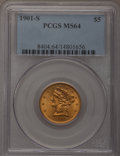 Liberty Half Eagles: , 1901-S $5 MS64 PCGS. PCGS Population (856/250). NGC Census:(1014/435). Mintage: 3,648,000. Numismedia Wsl. Price for probl...