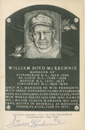 Baseball Collectibles:Others, Bill McKechnie Signed Black and White Hall of Fame PlaquePostcard....