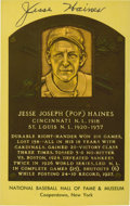 Baseball Collectibles:Others, Jesse Haines Signed Hall of Fame Plaque Postcard....