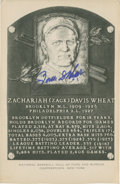 Baseball Collectibles:Others, Zach Wheat Signed Black and White Hall of Fame Plaque Postcard....