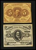 Fractional Currency:First Issue, Two 5¢ Fractionals Extremely Fine.... (Total: 2 notes)