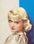 Pin-up and Glamour Art, AMERICAN ARTIST (20th Century). Constance Bennett, Silver Screencover, April 1934. Pastel on board. 20 x 15 in.. Not si...