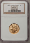 Modern Issues: , 1987-W G$5 Constitution Gold Five Dollar MS70 NGC. NGC Census: (4727). PCGS Population (875). Mintage: 214,225. Numismedia ...