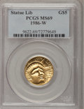 Modern Issues: , 1986-W G$5 Statue of Liberty Gold Five Dollar MS69 PCGS. PCGS Population (2664/223). NGC Census: (1566/1922). Mintage: 95,2...