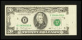 Error Notes:Obstruction Errors, Fr. 2077-E $20 1990 Federal Reserve Note. Very Fine.. ...
