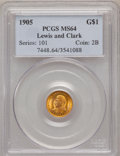 Commemorative Gold: , 1905 G$1 Lewis and Clark MS64 PCGS. PCGS Population (658/294). NGCCensus: (391/177). Mintage: 10,000. Numismedia Wsl. Pric...