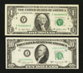 Error Notes:Offsets, Minor Face to Back $1 and $10 Offsets.. ... (Total: 2 notes)