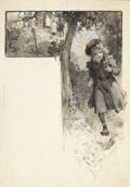 Mainstream Illustration, WALTER GRANVILLE-SMITH (American, 1870-1938). Running Girl,magazine illustration. Watercolor on paper, mounted to board...