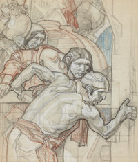 DEAN CORNWELL (American, 1892-1960) Mural Study, preliminary drawing Mixed media on paper 23 x 18