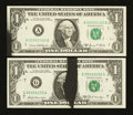 Error Notes:Ink Smears, Two $1 FRN's with Black Ink Smears.. ... (Total: 2 notes)
