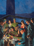 Pulp, Pulp-like, Digests, and Paperback Art, MORT KÜNSTLER (American, b. 1931). High Stakes Poker,cover illustration, c. 1965. Gouache on board. 22 x 17 in..Si...