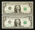 Error Notes:Ink Smears, $1 Federal Reserve Note Green Ink Smears.. ... (Total: 2 notes)