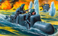 Pulp, Pulp-like, Digests, and Paperback Art, MORT KÜNSTLER (American, b. 1931). U.S. Navy's Human TorpedoStrike, For Men Only cover, December 1964. Gouache on board...(Total: 2 Items)