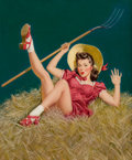 Pin-up and Glamour Art, AL BUELL (American, 1910-1996). Pin-Up with a Pitchfork. Oilon board. 21 x 17 in.. Signed center left. ...