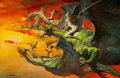 Pulp, Pulp-like, Digests, and Paperback Art, BORIS VALLEJO (American, b. 1941). Flight of the Dragons(Quest), 1981. Oil on board. 19 x 30 in.. Signed lower left....