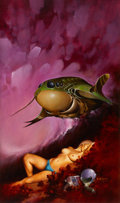 Pulp, Pulp-like, Digests, and Paperback Art, MELVYN GRANT (British, 20th Century). Floating Worlds, paperbackcover, 1978. Acrylic on board. 27 x 16 in.. Signed lowe...(Total: 2 Items)