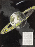 Mainstream Illustration, FRANK R. PAUL (American, 1884-1963). The End of the Moon,Science-Fiction Plus back cover, August 1953. Mixed media on... (Total: 2 Items)