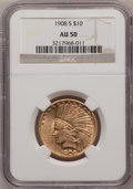 Indian Eagles: , 1908-S $10 AU50 NGC. NGC Census: (44/466). PCGS Population (72/368). Mintage: 59,850. Numismedia Wsl. Price for problem fre...