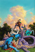 Pulp, Pulp-like, Digests, and Paperback Art, RICHARD HESCOX (American, b. 1949). Jason Cosmo, book cover,1989. Acrylic on board. 30 x 20 in.. Signed lower right. ...