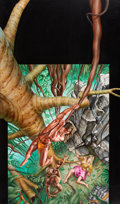 Pulp, Pulp-like, Digests, and Paperback Art, BARCLAY SHAW (American, b. 1949). Tarzan of the Apes, paperbackcover, 1990. Acrylic on board. 39 x 24 in.. Initialed ce...