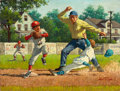 Mainstream Illustration, ARTHUR SARON SARNOFF (American, 1912-2000). He's Out, LittleLeague. Oil on board. 18 x 24 in.. Signed lower right. ...