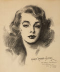 Pin-up and Glamour Art, EVERETT RAYMOND KINSTLER (American, b. 1926). Glamour Girlportrait, 1953. Charcoal on paper. 13 x 10 in.. Signed lower...