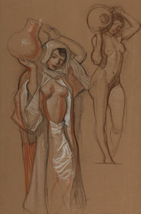 DEAN CORNWELL (American, 1892-1960) Study for Water Girl Mixed media on paper 23 x 15 in. Not