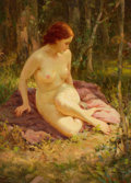 Pin-up and Glamour Art, JOSEPH TOMANEK (American, 1889-1974). Nude in a Forest. Oilon canvas. 13.5 x 9.5 in.. Signed lower right. ...