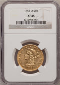 Liberty Eagles: , 1851-O $10 XF45 NGC. NGC Census: (176/534). PCGS Population(113/157). Mintage: 263,000. Numismedia Wsl. Price for problem ...