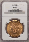 Liberty Double Eagles: , 1889-S $20 MS61 NGC. NGC Census: (626/572). PCGS Population(303/961). Mintage: 774,700. Numismedia Wsl. Price for problem ...