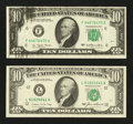 Error Notes:Ink Smears, Fr. 2023-F $10 1977 Federal Reserve Note. Choice AboutUncirculated.. Fr. 2027-L $10 1985 Federal Reserve Note. Extremely... (Total: 2 notes)